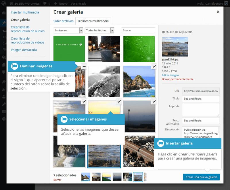 Crear galería de imágenes en WordPress