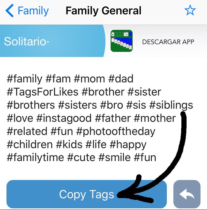 Guardar listas de hashtags