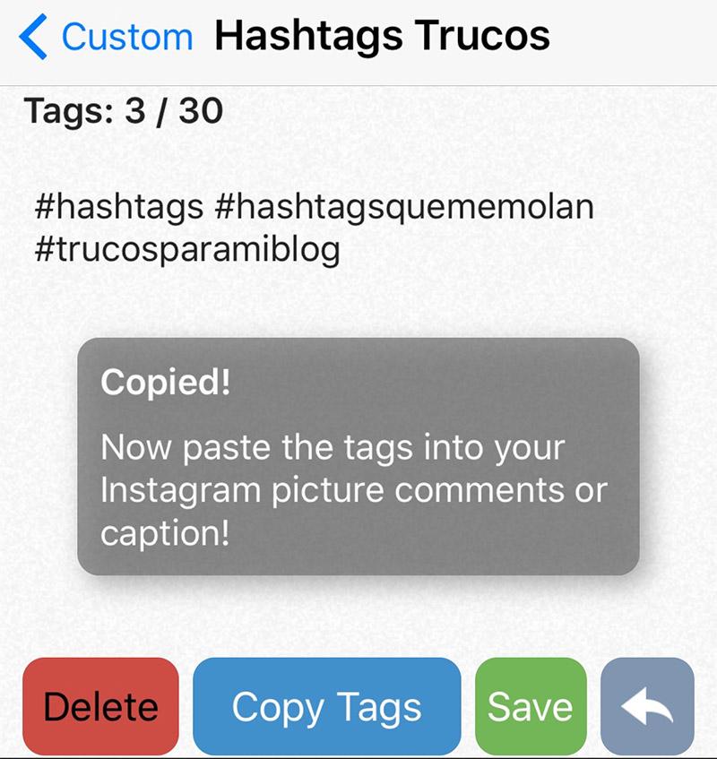Hashtags de aplicaciones
