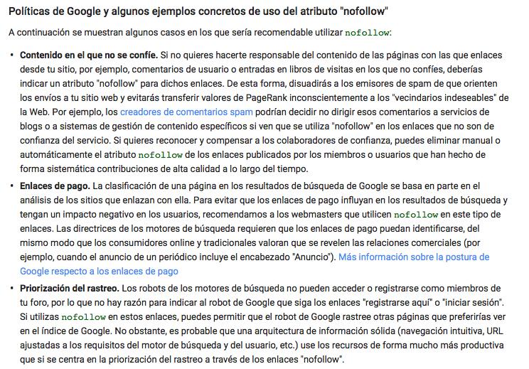 política de Google con nofollow