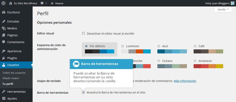 Activar y desactivar la barra de herramientas de WordPress