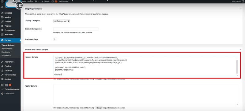 Pegar código de Google Analytics en WordPress