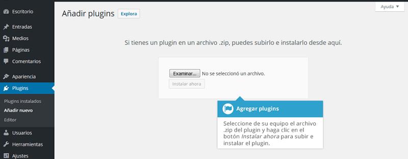Agregar un complemento a WordPress