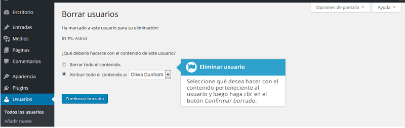 eliminar usuarios de WordPress -