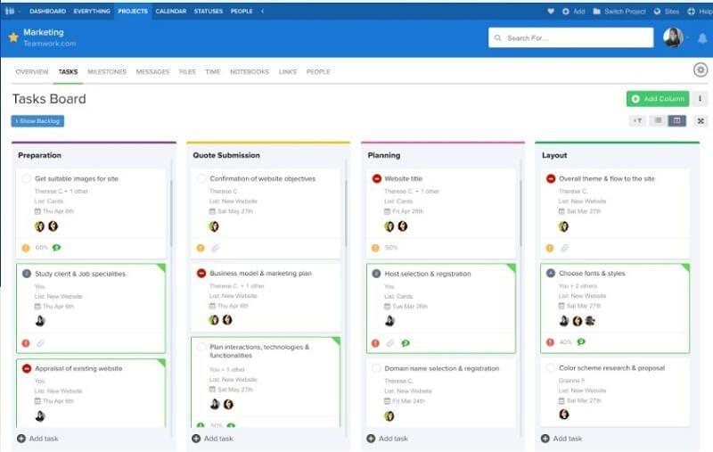 Herramientas de gestión de proyectos: teamwork