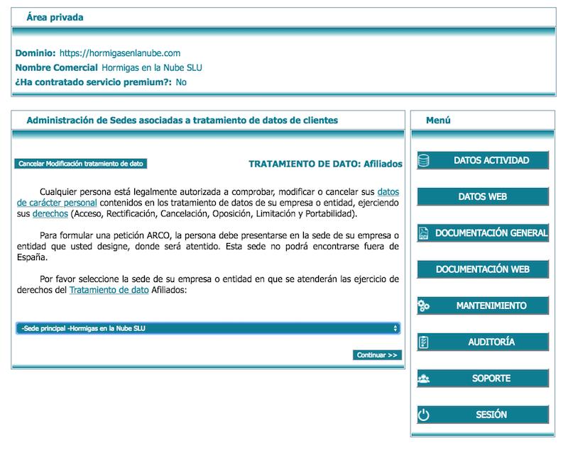 especificar sede de proteccion de datos lex blogger