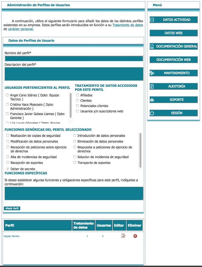 Perfil de usuarios de empleados RGPD Lex blogger