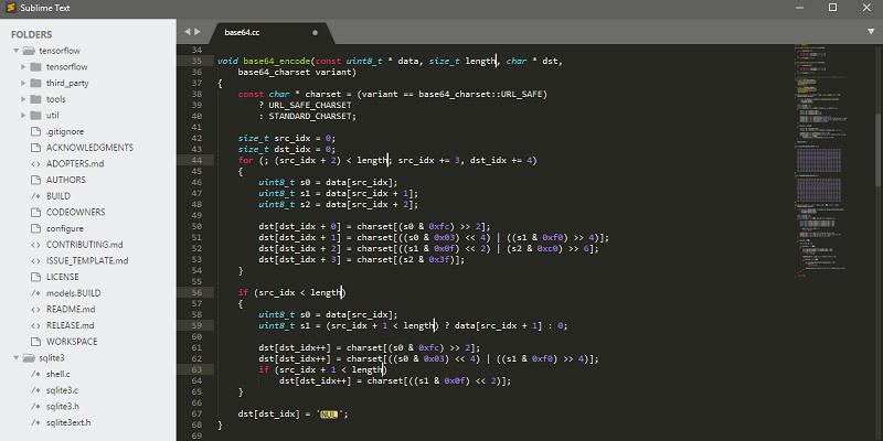 editores de código: texto sublime